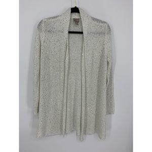 Chicos open cardigan 1 white cream sequin sparkle